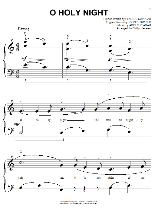 Partition piano O Holy Night de Christmas Carol - Piano Facile