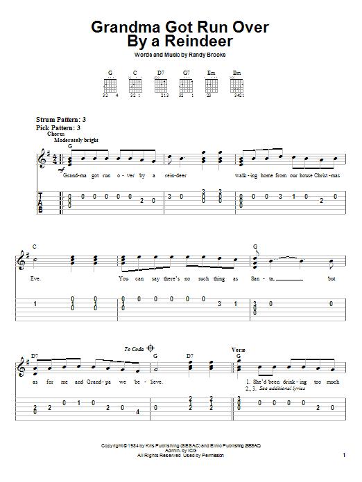 Tablature guitare Grandma Got Run Over By A Reindeer de Randy Brooks - Tablature guitare facile
