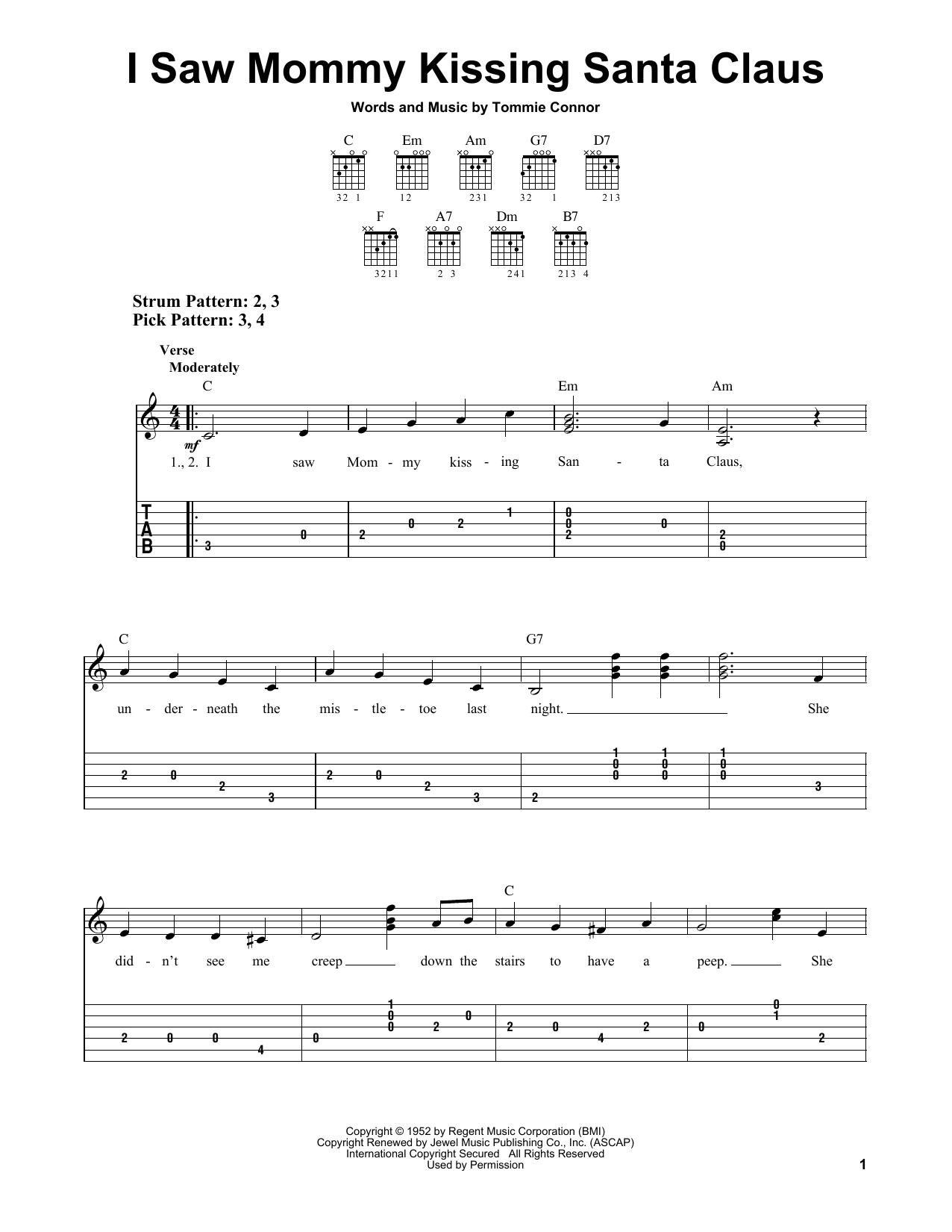 Tablature guitare I Saw Mommy Kissing Santa Claus de Tommie Connor - Tablature guitare facile
