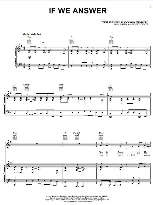 Partition piano If We Answer de Steve Green - Piano Voix Guitare (Mélodie Main Droite)