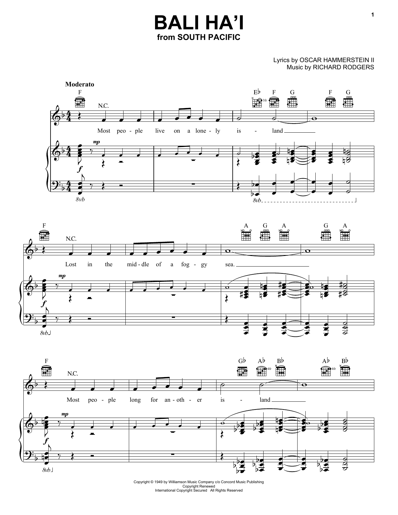 Partition piano Bali Ha'i (from South Pacific) de Rodgers & Hammerstein - Piano Voix Guitare (Mélodie Main Droite)
