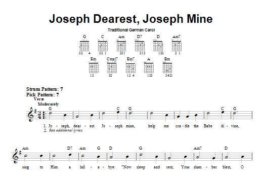 Tablature guitare Joseph Dearest, Joseph Mine de Christmas Carol - Tablature guitare facile