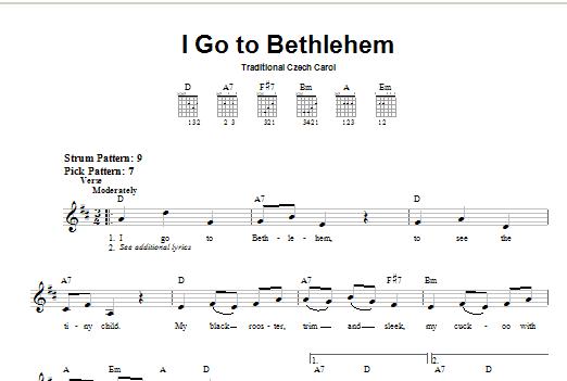 Tablature guitare I Go To Bethlehem de Christmas Carol - Tablature guitare facile
