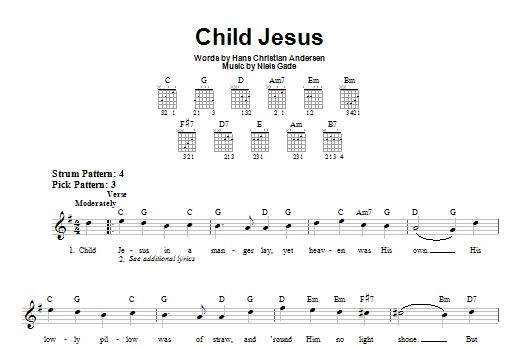 Tablature guitare Child Jesus de Hans Christian Andersen - Tablature guitare facile