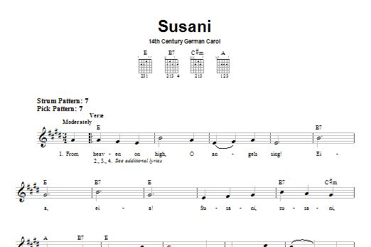 Tablature guitare Susani de Christmas Carol - Tablature guitare facile