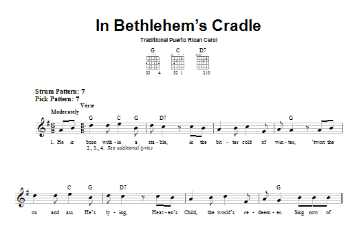 Tablature guitare In Bethlehem's Cradle de Traditional Puerto Rican Carol - Tablature guitare facile