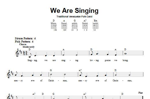 Tablature guitare We Are Singing de Venezuelan Folk Carol - Tablature guitare facile