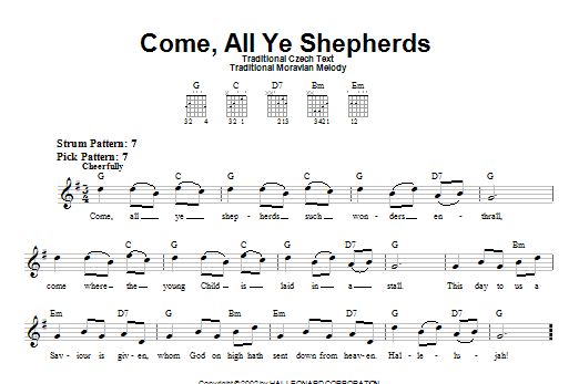 Tablature guitare Come, All Ye Shepherds de Traditional Czech Text - Tablature guitare facile