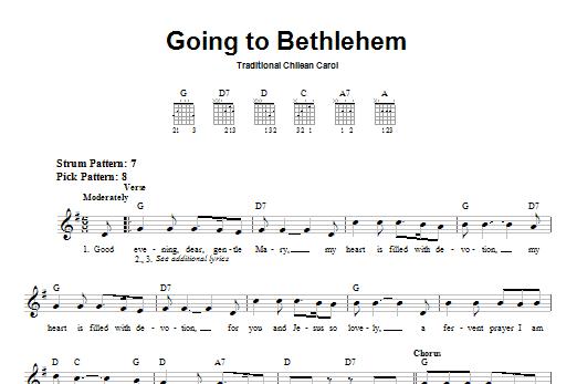 Tablature guitare Going To Bethlehem de Christmas Carol - Tablature guitare facile