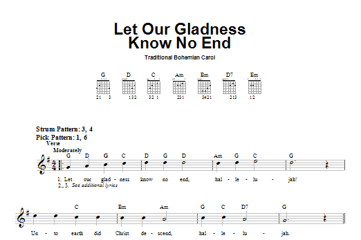 Tablature guitare Let Our Gladness Know No End de Traditional Bohemian Carol - Tablature guitare facile