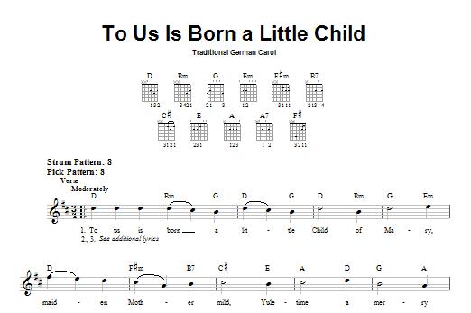 Tablature guitare To Us Is Born A Little Child de Traditional German Carol - Tablature guitare facile