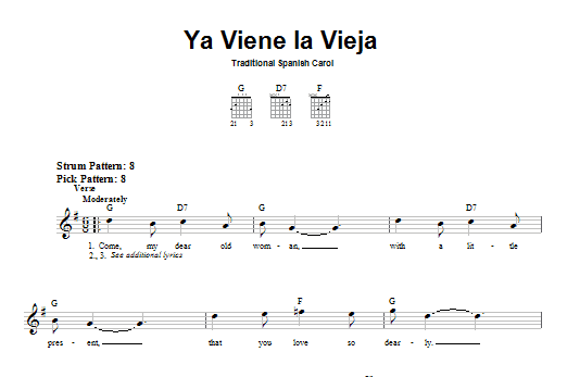 Tablature guitare Ya Viene La Vieja de Traditional Spanish Carol - Tablature guitare facile