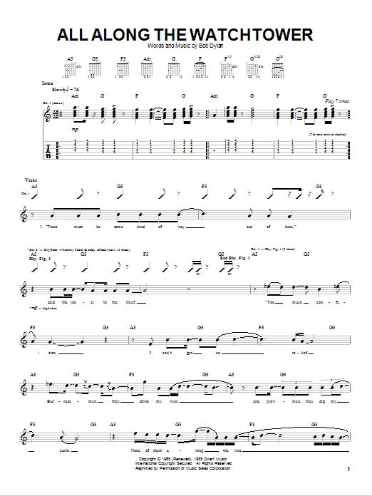 Tablature guitare All Along The Watchtower de Dave Matthews Band - Tablature Guitare