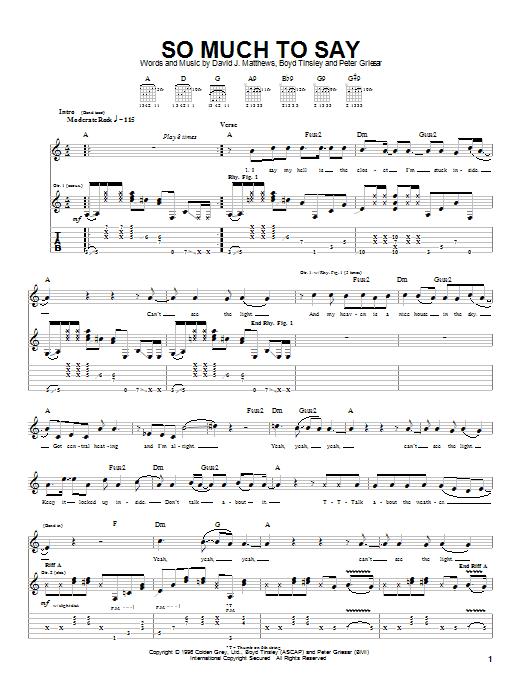 Tablature guitare So Much To Say de Dave Matthews Band - Tablature Guitare