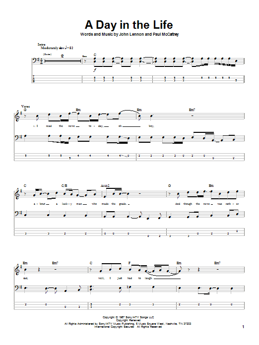 A Day In The Life sheet music for bass (tablature) (bass guitar) by Paul McCartney