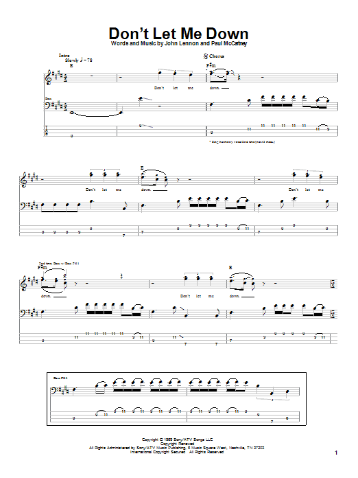 Tablature guitare Don't Let Me Down de The Beatles - Tablature Basse