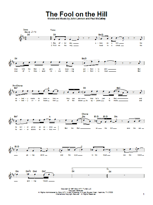 Tablature guitare The Fool On The Hill de The Beatles - Tablature Basse