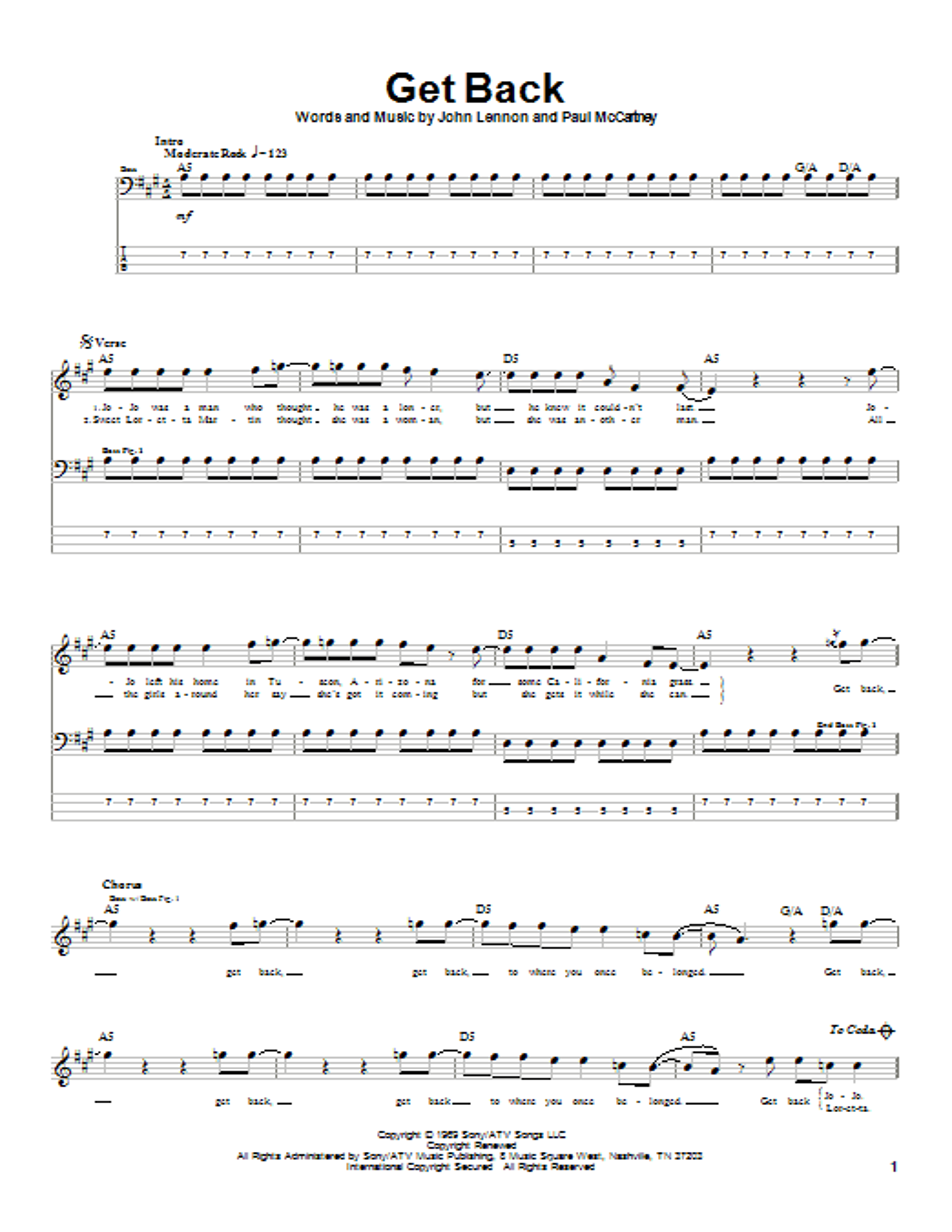 Tablature guitare Get Back de The Beatles - Tablature Basse