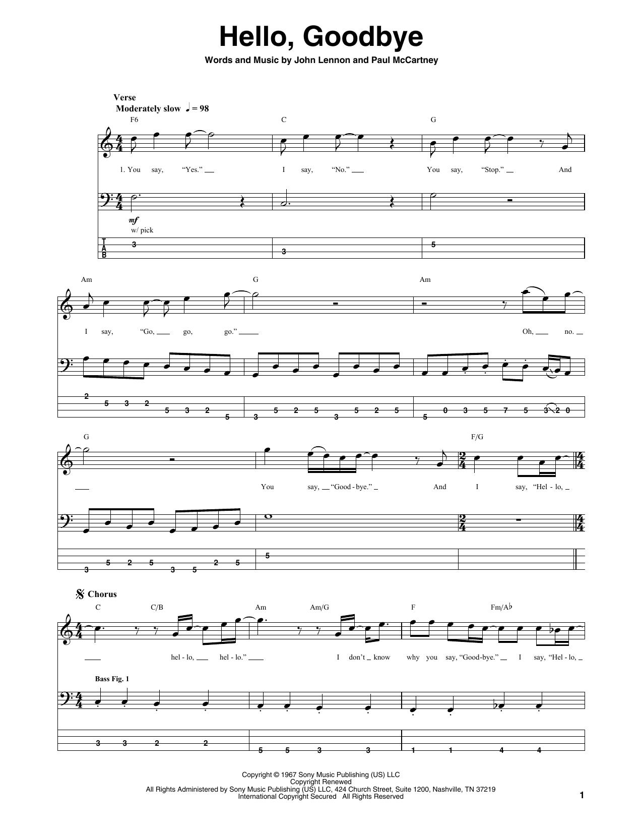 Tablature guitare Hello, Goodbye de The Beatles - Tablature Basse