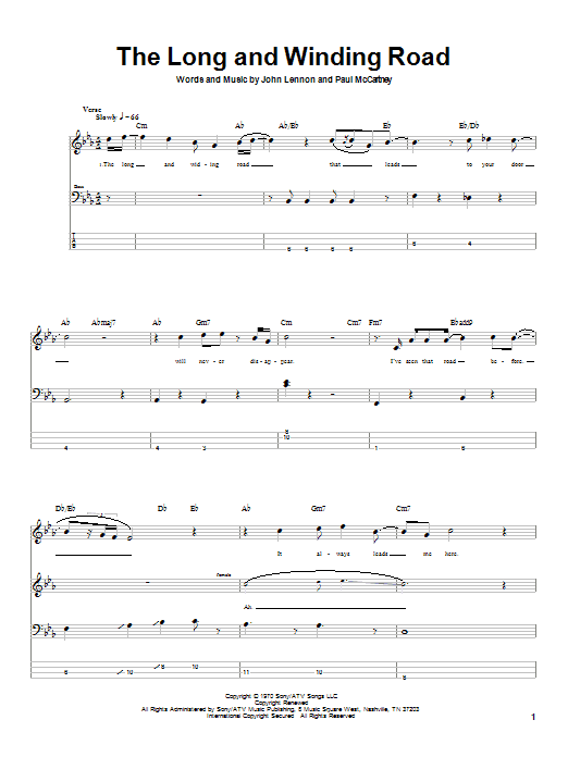 Tablature guitare The Long And Winding Road de The Beatles - Tablature Basse