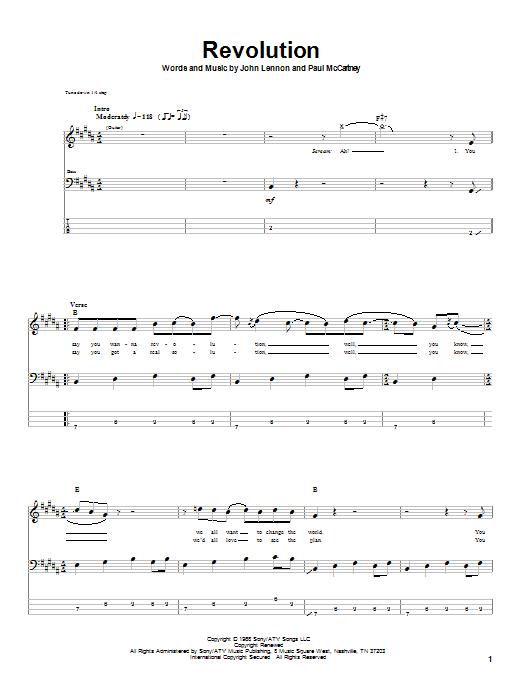 Tablature guitare Revolution de The Beatles - Tablature Basse