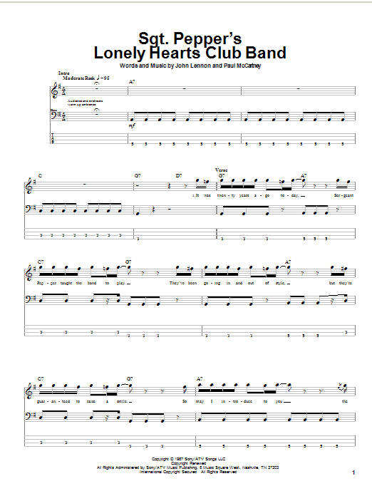 Tablature guitare Sgt. Pepper's Lonely Hearts Club Band de The Beatles - Tablature Basse