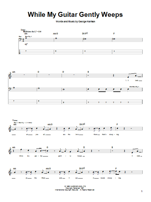 Tablature guitare While My Guitar Gently Weeps de The Beatles - Tablature Basse