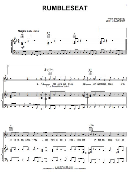 Partition piano Rumbleseat de John Cougar Mellencamp - Piano Voix Guitare (Mélodie Main Droite)