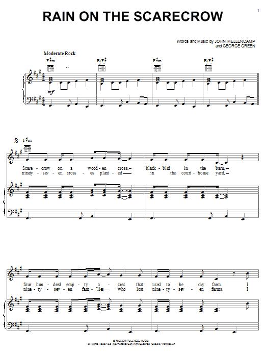 Partition piano Rain On The Scarecrow de John Cougar Mellencamp - Piano Voix Guitare (Mélodie Main Droite)