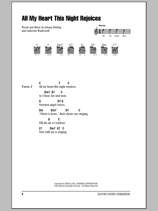 All My Heart This Night Rejoices sheet music for guitar solo (chords, lyrics, melody) by Catherine Winkworth