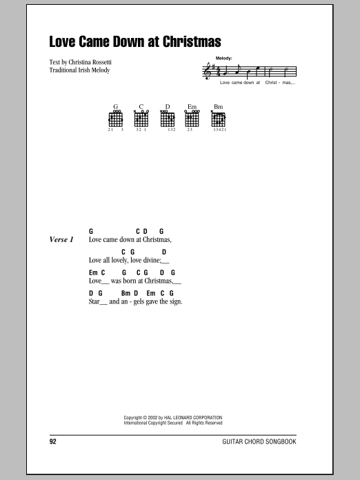 Love Came Down At Christmas sheet music for guitar solo (chords, lyrics, melody)