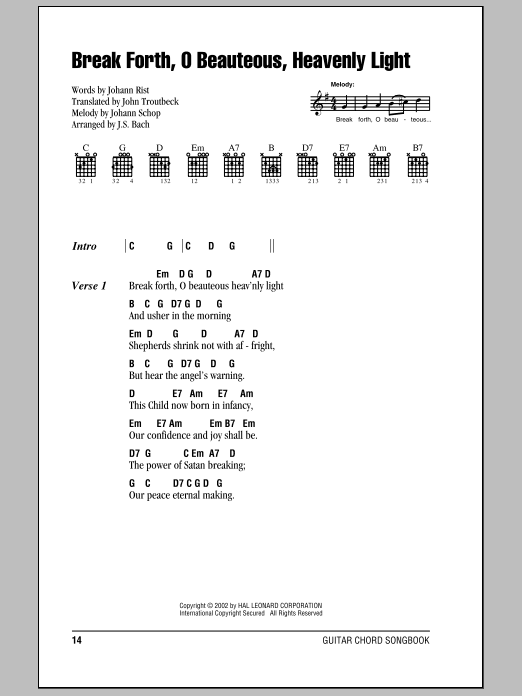 Break Forth, O Beauteous, Heavenly Light sheet music for guitar solo (chords, lyrics, melody) by John Troutbeck