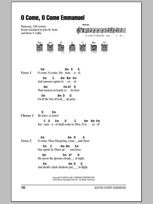 O Come, O Come Immanuel sheet music for guitar solo (chords, lyrics, melody) by Henry S. Coffin
