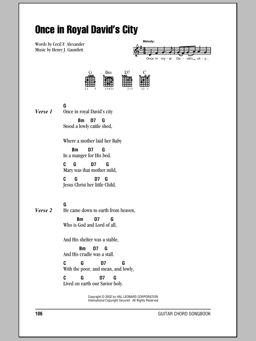 Once In Royal Davidu0026#39;s City by Cecil F. Alexander - Guitar Chords/Lyrics - Guitar Instructor