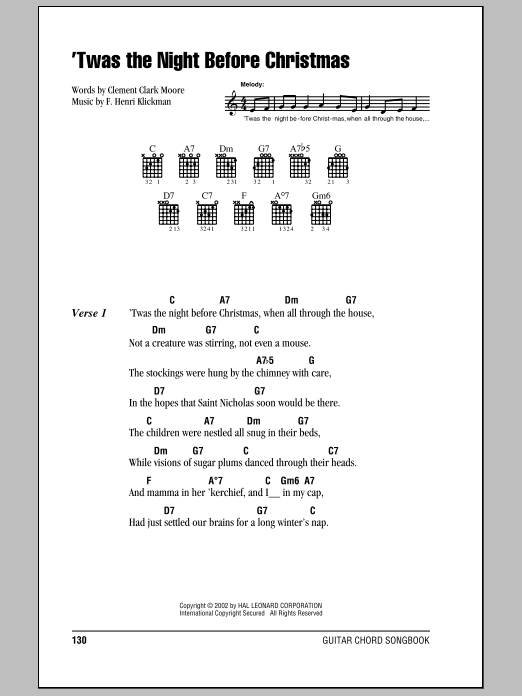 'Twas The Night Before Christmas sheet music for guitar solo (chords, lyrics, melody) by F. Henri Klickman