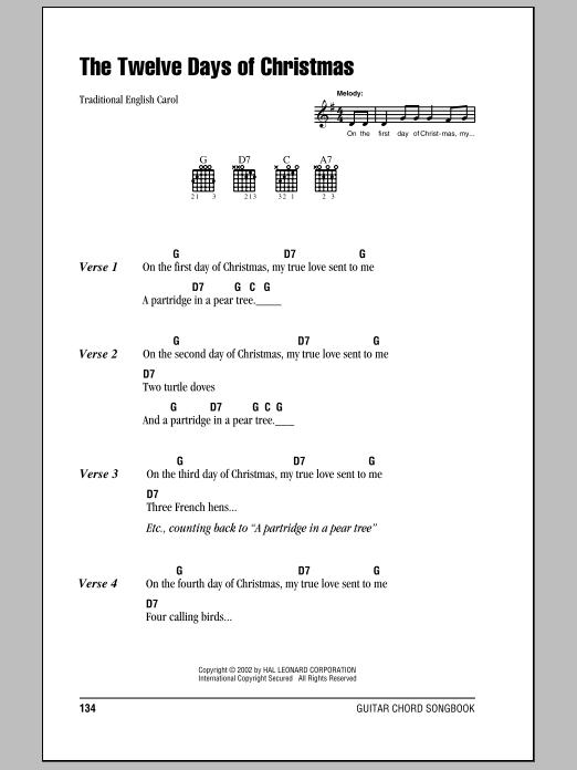 The Twelve Days Of Christmas by Traditional English Carol - Guitar Chords/Lyrics - Guitar Instructor