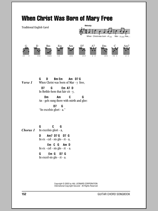 When Christ Was Born Of Mary Free sheet music for guitar solo (chords, lyrics, melody) by Traditional Text, 15th Century