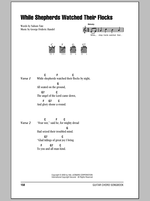 While Shepherds Watched Their Flocks sheet music for guitar solo (chords, lyrics, melody) by Nahum Tate