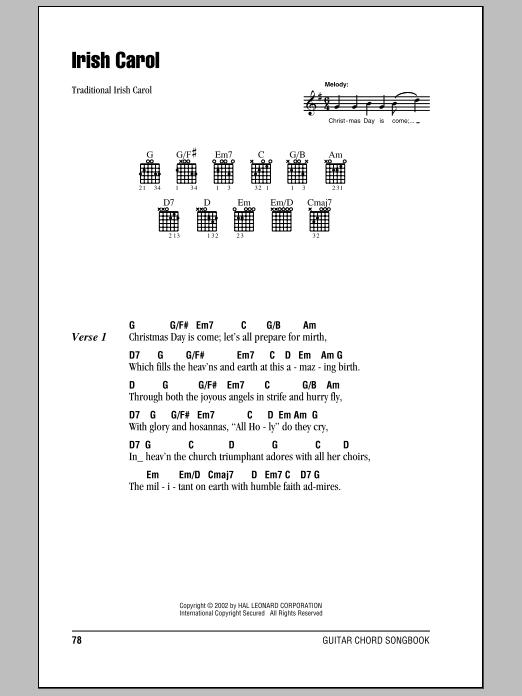 Irish Carol sheet music for guitar solo (chords, lyrics, melody)