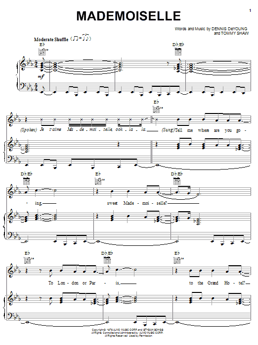 Mademoiselle sheet music for voice, piano or guitar by Tommy Shaw