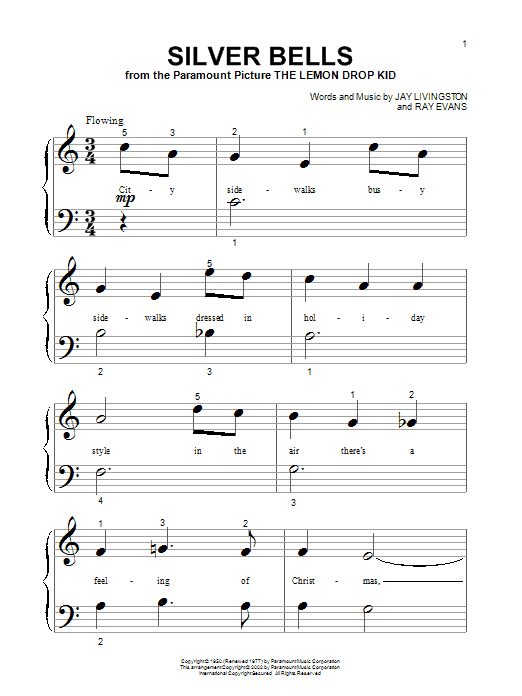 Partition piano Silver Bells de John Denver - Piano Facile