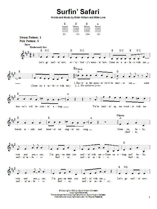Tablature guitare Surfin' Safari de The Beach Boys - Tablature guitare facile