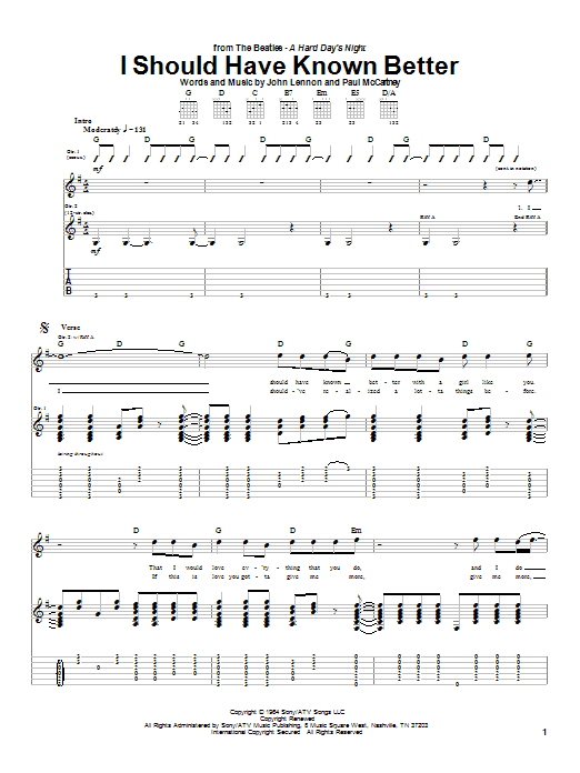Tablature guitare I Should Have Known Better de The Beatles - Tablature Guitare