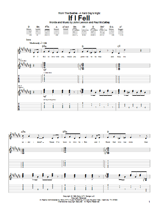 Tablature guitare If I Fell de The Beatles - Tablature Guitare