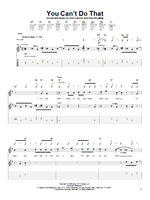 Tablature guitare You Can't Do That de The Beatles - Tablature Guitare