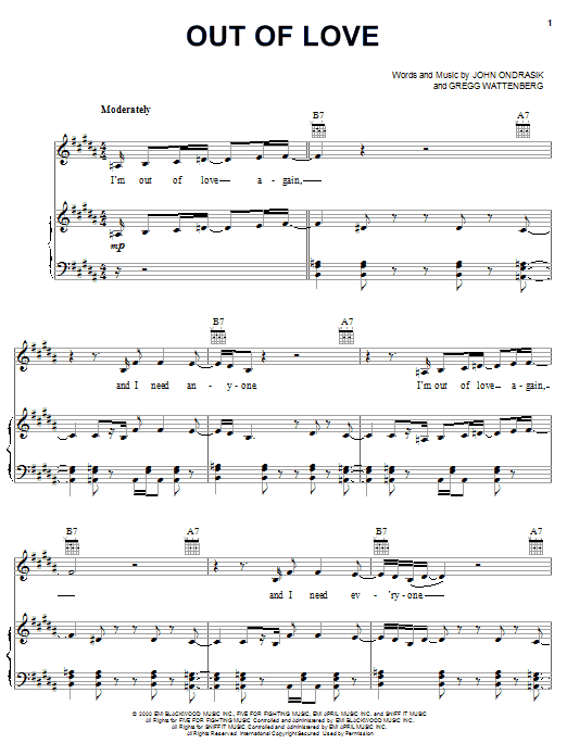 Out Of Love sheet music for voice, piano or guitar by John Ondrasik
