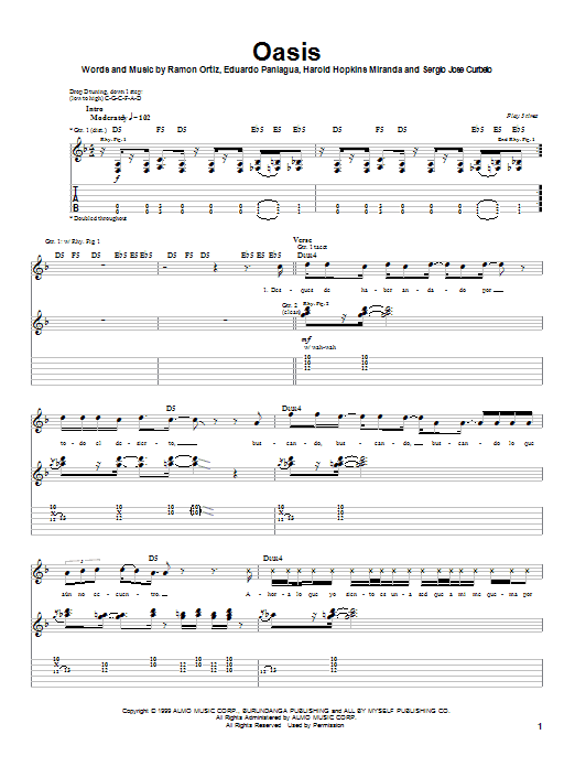 Oasis sheet music for guitar solo (tablature) by Ramon Ortiz