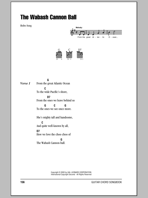 Wabash Cannonball sheet music for guitar solo (chords, lyrics, melody) by Hobo Song