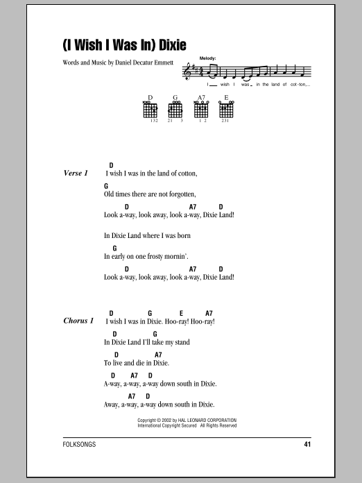 (I Wish I Was In) Dixie sheet music for guitar solo (chords, lyrics, melody) by Daniel Decatur Emmett