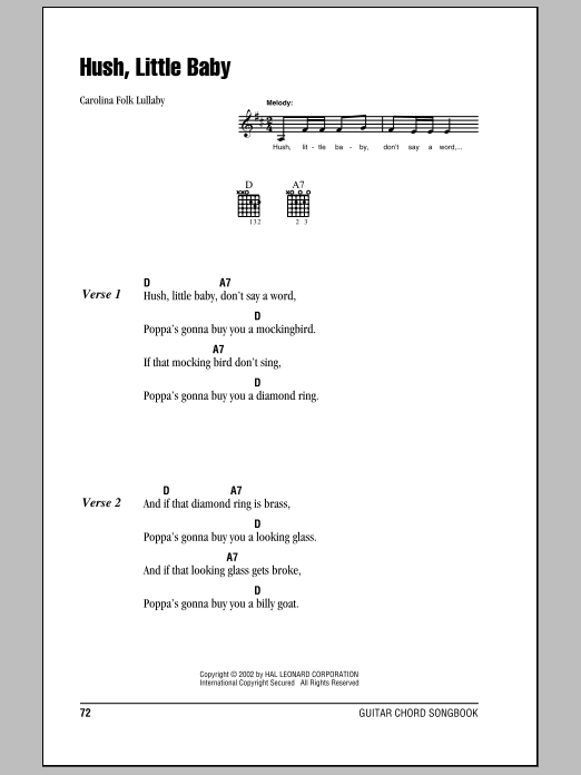 Hush Little Baby sheet music for guitar solo (chords, lyrics, melody) by Carolina Folk Lullaby